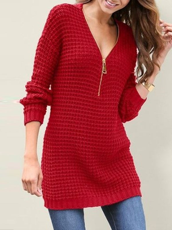 Zipper Mid-Length Long Sleeve Sweater
