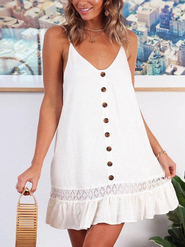 Mid-Calf Button Sleeveless Pullover A-Line Dress