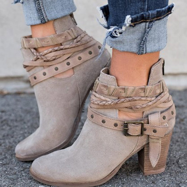 Fashion Bandage Zipper Square Heel Ankle Boots