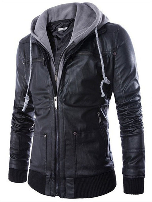 Hooded Plain Standard Straight Spring Leather Jacket