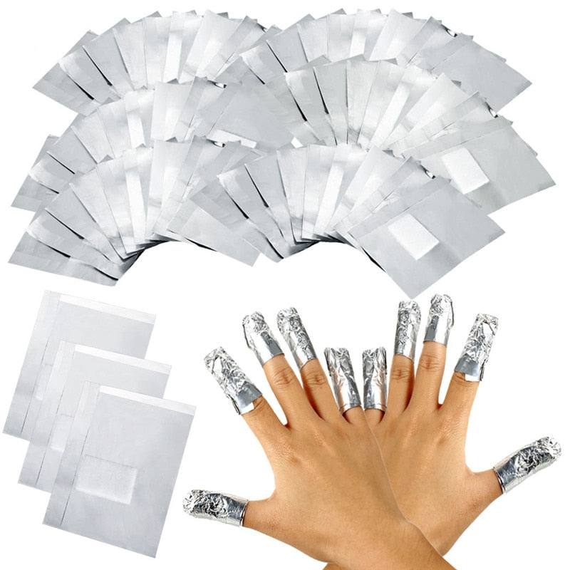 100Pcs With 50Pcs Aluminium Foil Remover Wraps with Acetone Nail Art Soak Off Acrylic Gel Nail Polish Removal
