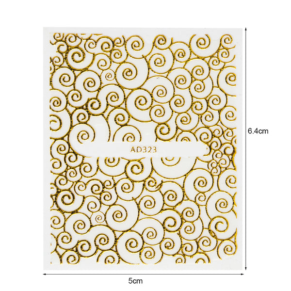 20pcs Golden Flower Bronzing Design 3D Beauty Nail Sticker Sets