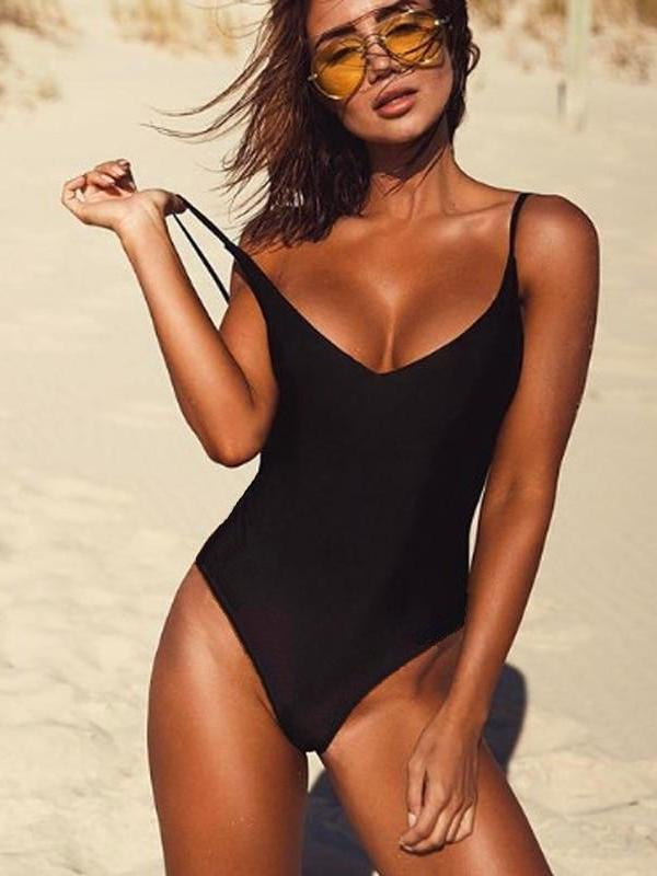 Sexy  Solid Black Thong Backless One Piece Swimwear