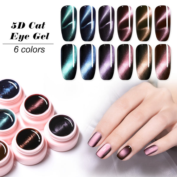 5D Cat Eye Magnetic UV Gel Varnish Nail Art