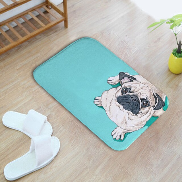 40*60cm Color Shar Pei Dog Water Absorption Shaggy Bath Mat