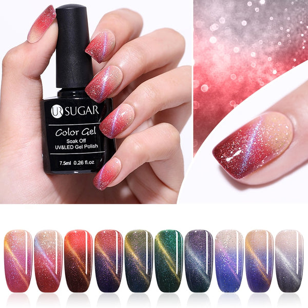 7.5ml Magnetic Glitter Thermal Color Changing Cat Eye UV Gel Polish