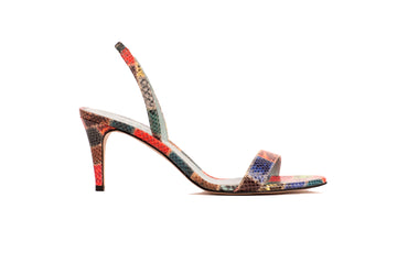 Sally Patchwork Python-Effect Vegan Heeled Sandal