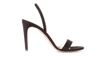 Alexandra Black Suede-Effect Vegan Heeled Sandal