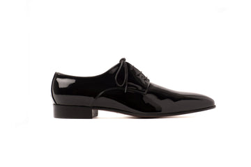 Maxwell Black Patent-Effect Vegan Derby