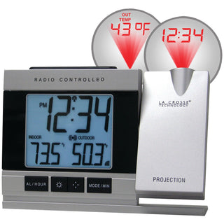 La Crosse Technology Atomic Projection Alarm Clock With Indoor & Outdoor Temperature