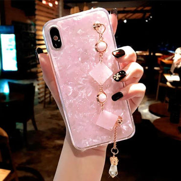 New Pink Marble & Marble with Bracelet Chain iPhone Case