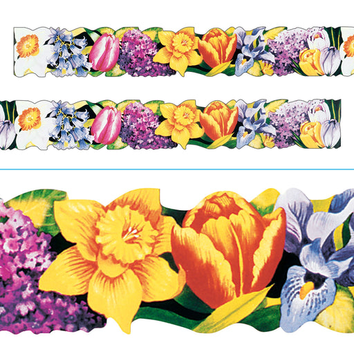 T8511 Spring Flowers Border with close-up view