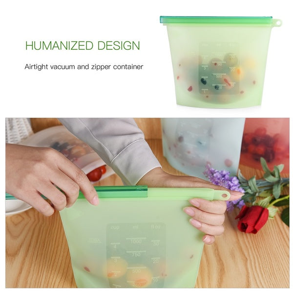 2pcs/4pcs Reusable Silicone Seal Food Storage Fresh Bag
