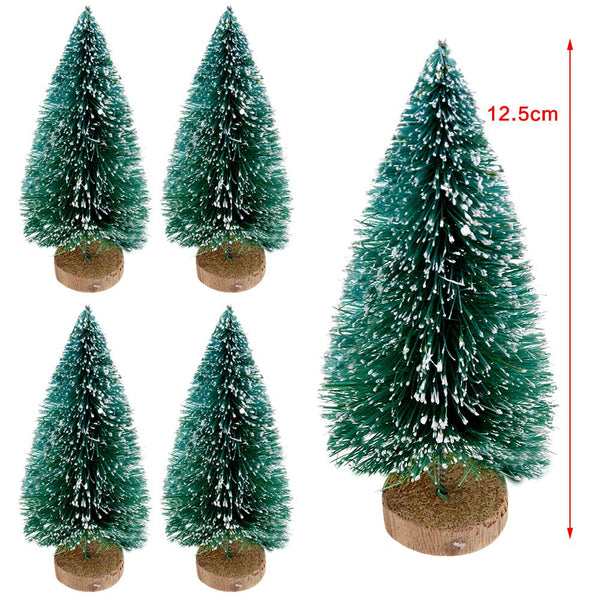 5X Christmas Tree Mini Cedar Ornaments Miniature Decor