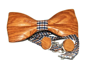 Mens wooden bow tie with pocket square + Wooden Cufflinks. Wood bow tie and cufflinks.