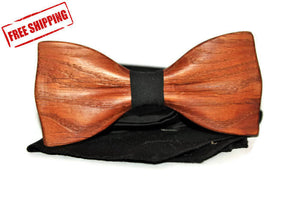 Mens wooden bow tie with pocket square. Wood wedding bowtie. Wood bow tie. Wooden bow tie.