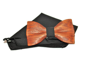 Black bow tie  from wood with pocket square classic form