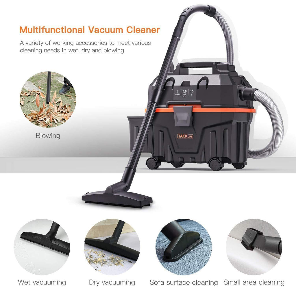 1200W 15L Bagless Wet Dry Vac Cleaner with Powerful Suction Suitable for Indoor and Outdoor Use Wet-PVC01B