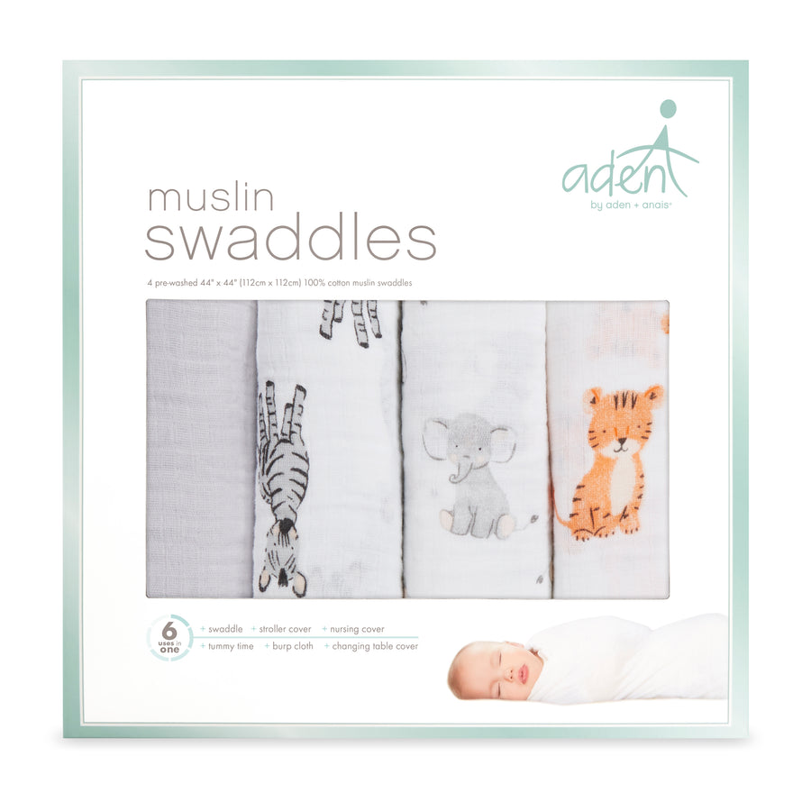 aden by aden + anais: safari babes classic muslin swaddles multi pack 4