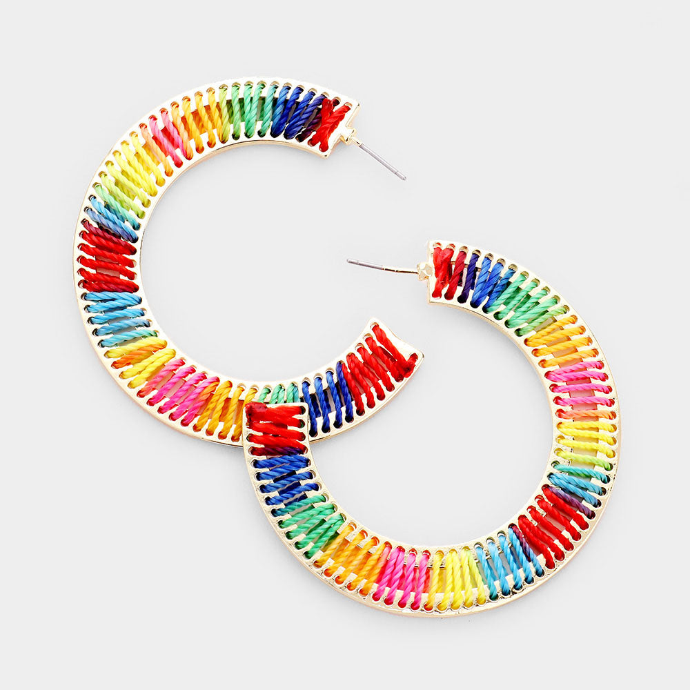 Half Hoop Gold Rainbow Earrings
