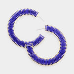 Half Hoop Gold Cobalt Earrings