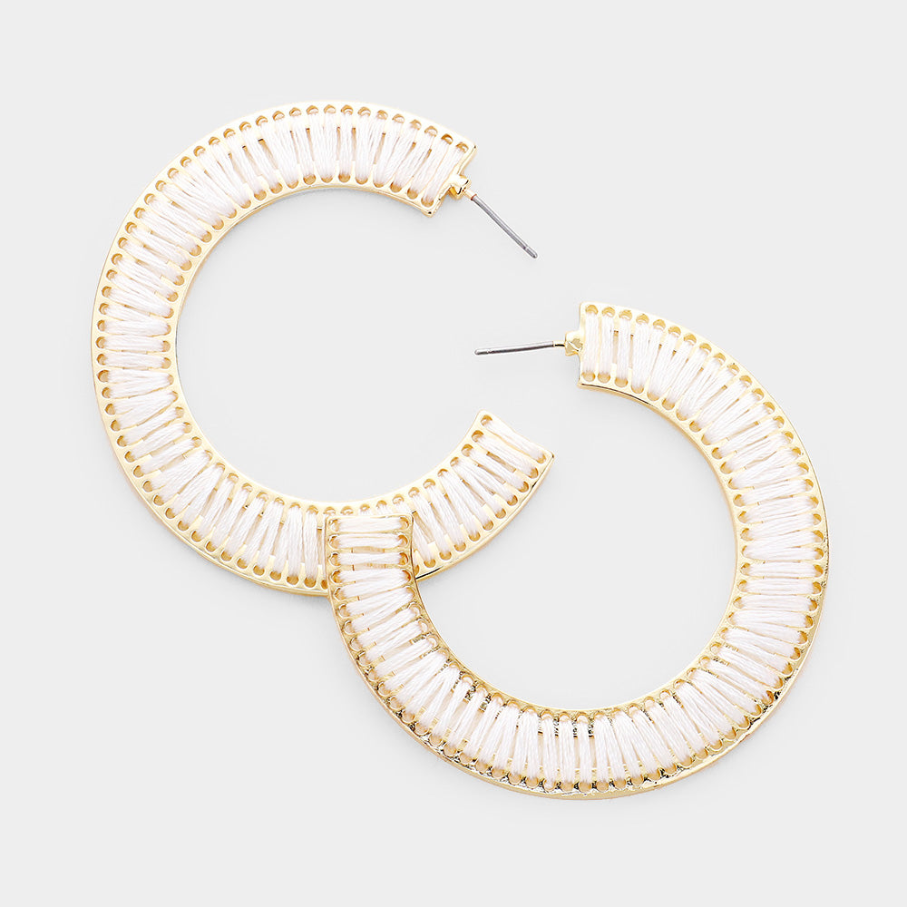 Half Hoop Gold Ivory Earrings
