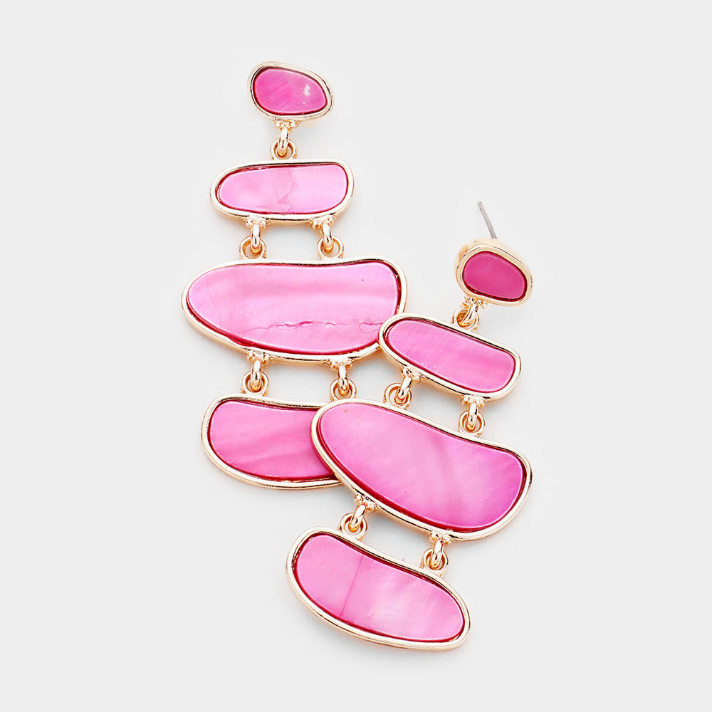 Fiesta Pink Layered Statement Earrings