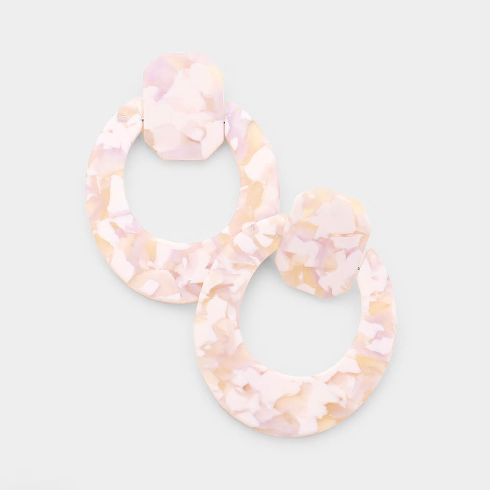 Blush & White Acetate Cut Out Earrings