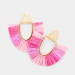 Fuchsia Fan Tassel Earrings
