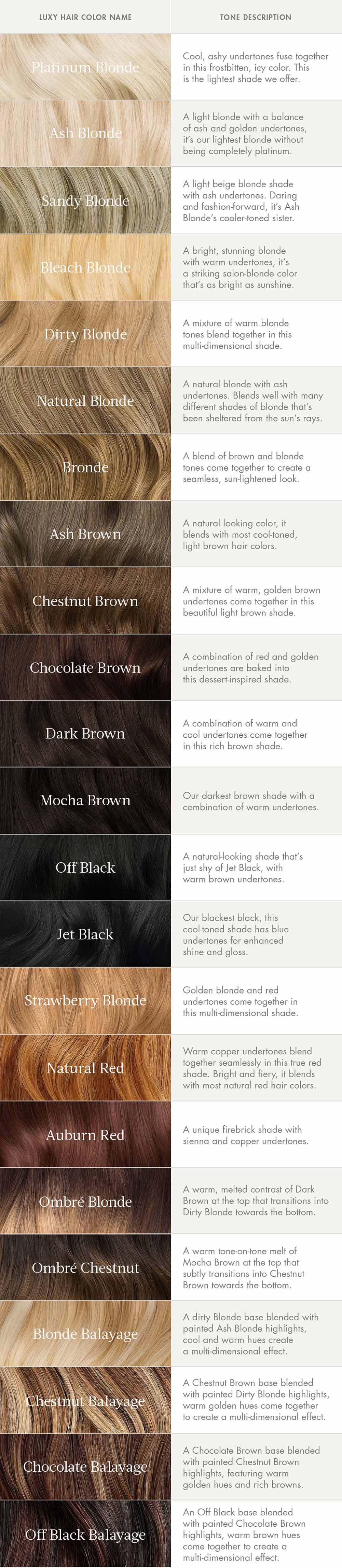 luxy hair color guide
