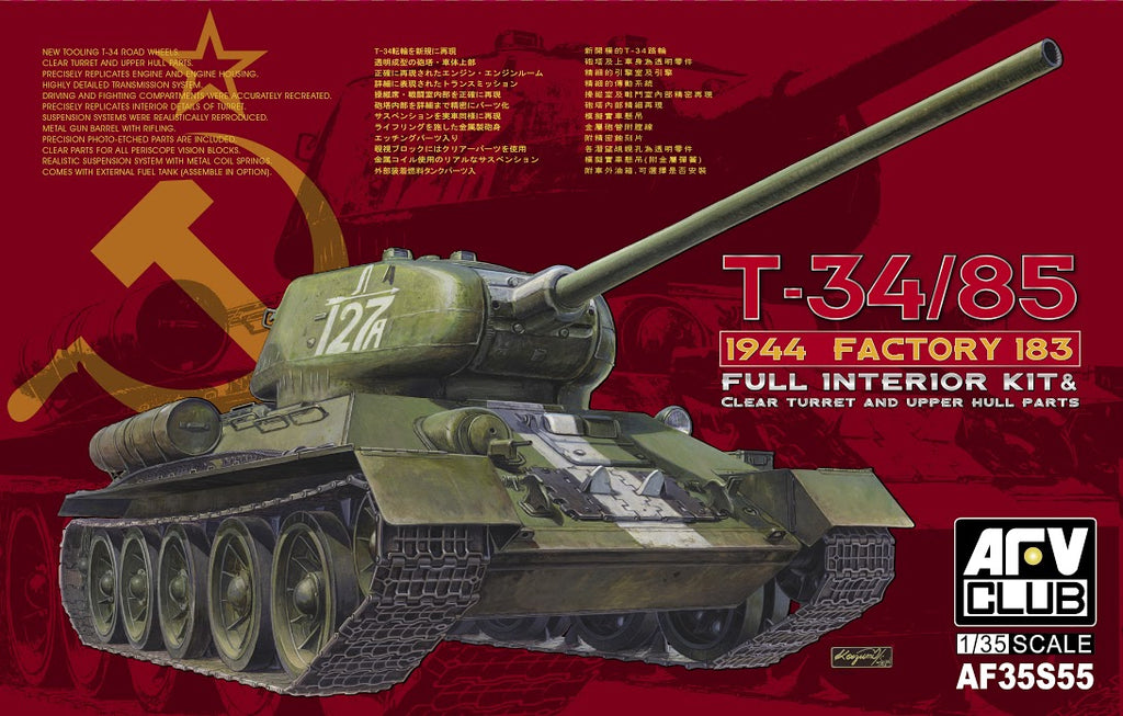 AF35S55 - AFV Club 1/35 T34/85 Mod.1944  w/Full Interior & Transparent Turret -Limited Edition