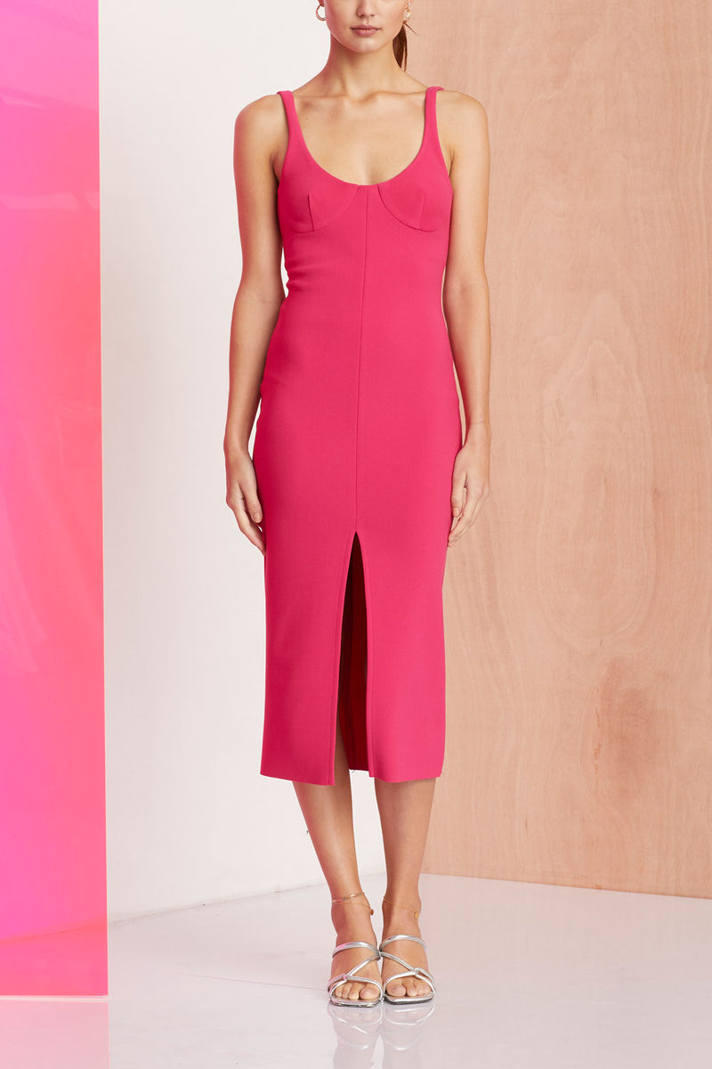 Bec and Bridge Amelie Cup Midi Dress Magenta