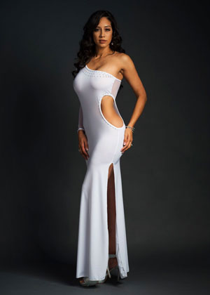 One Shoulder Long Dress Slit and Exposed Sides - [collection] - Honeybunnies.com