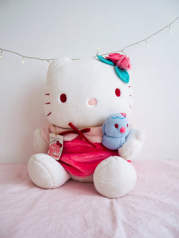 Giant Hello Kitty Plush Pink Rose and Blue Chick 45cm