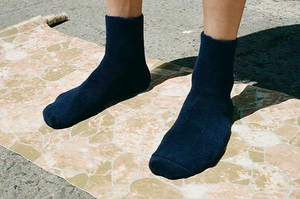 BUCKLE OVERANKLE SOCKS, NAVY