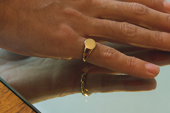 SMALL SIGNET RING, 18K GOLD VERMEIL