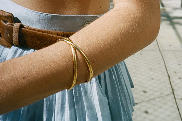 DOUBLE CIRCLE BANGLE, GOLD