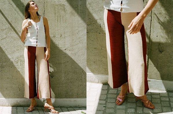 KNIT CULOTTE, PEACH/RED