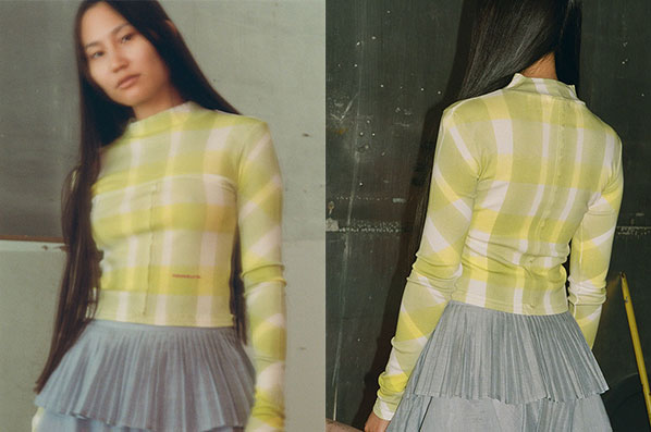 LAPPED BABY TURTLENECK, YELLOW GRID