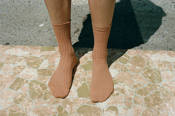 RIB ANKLE SOCKS, FURANO BROWN