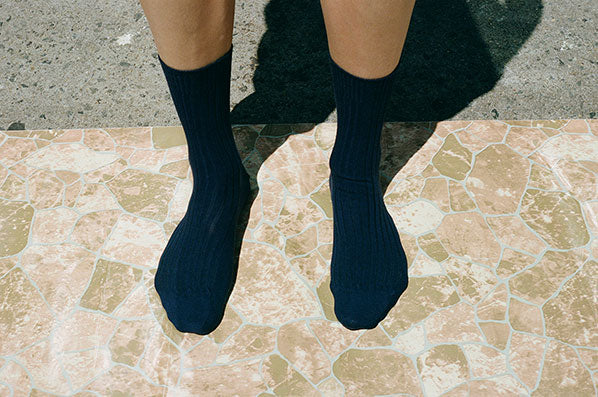RIB ANKLE SOCKS, NAVY