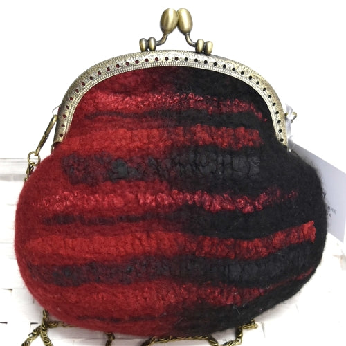 Wool Felted Small Clutch Coin Purse in Black and Red 12548| Wool Felt Bags | Sally Ridgway | Shop Wool, Felt and Fibre Online