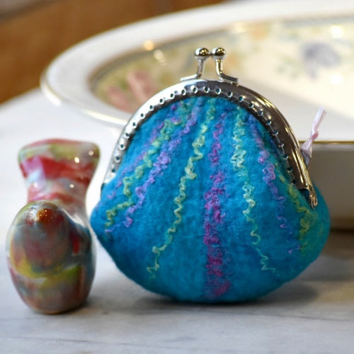 Wool Felted Coin Purse Stitch Marker Pouch Opal Blue 12787| Coin Purse | Sally Ridgway | Shop Wool, Felt and Fibre Online