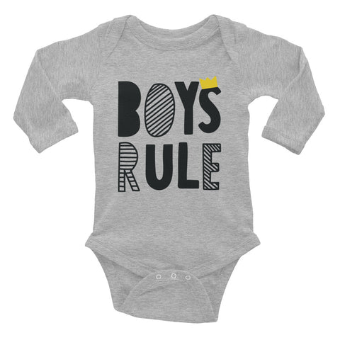 Boys Rules Infant Long Sleeve Bodysuit