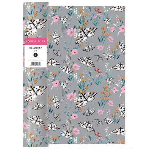 Grey floral gift wrap roll, 3m