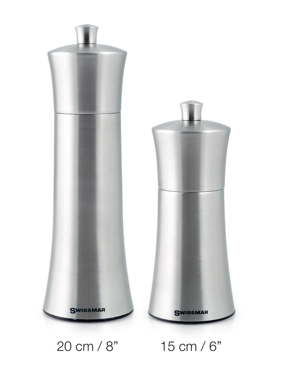 Swissmar Torre Brushed Stainless Steel Mill Product Shot Comparing sizes