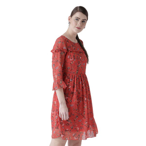 Red Floral Printed Dress With Flared Sleeves