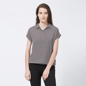 Grey Shirt Collar Top With Short Sleeves