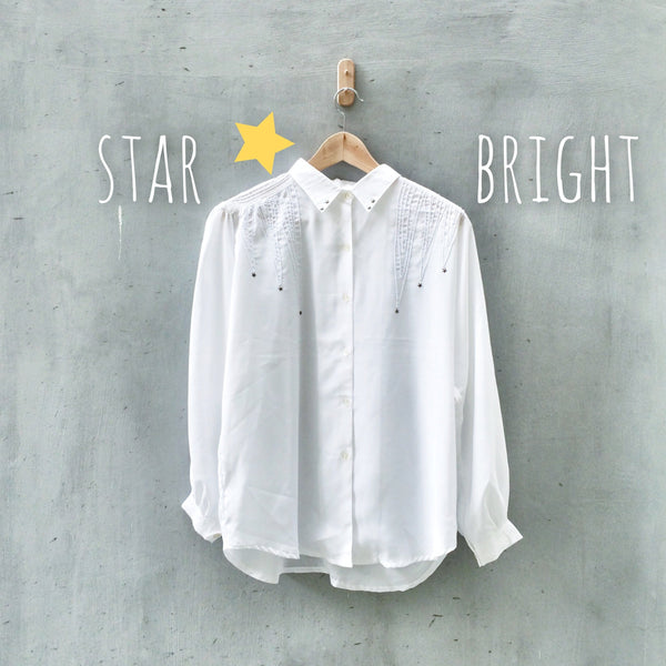 Star Bright | Vintage 1980s western style Embroidered Cowboy star highlight Shirt Blouse
