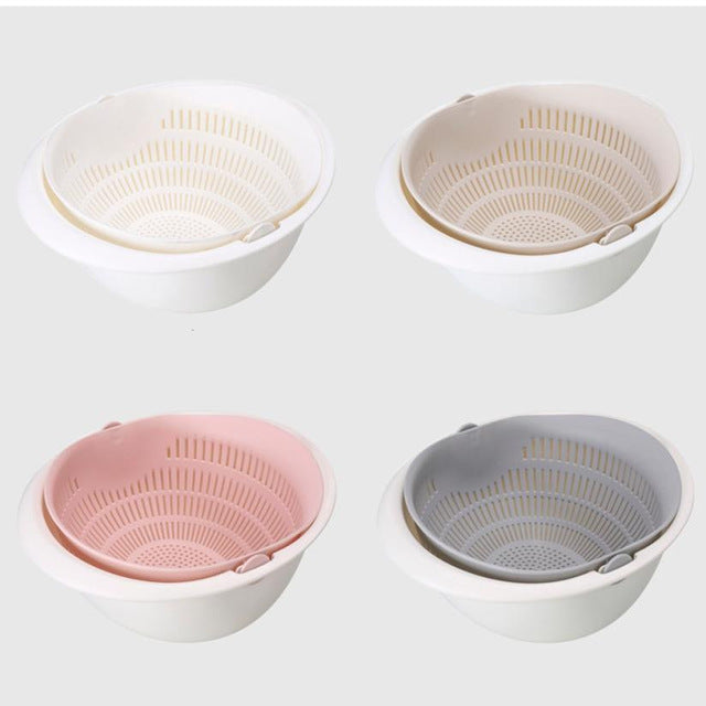 Double Drain Kitchen Strainer/Colander Bowl - Available in Many Colors